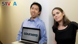 Andrew Ng and Daphne Koller are Stanford University computer science professors who started Coursera. They posed for a photo in 2012. In March 2021, the company will offer shares for sale on the New York Stock Exchange. (AP Photo/Jeff Chiu)