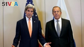 U.S. Secretary of State John Kerry (L) and Russian Foreign Minister Sergei Lavrov meet in Geneva, Switzerland, to discuss the crisis in Syria, September 9, 2016. (REUTERS/Kevin Lamarque)