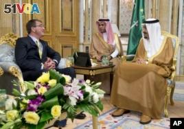 U.S. Defense Secretary Ash Carter, left, meets with Saudi King Salman bin Abdul Aziz, right, in Jeddah, Saudi Arabia.