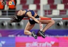 Hong Kong's Yeung Man Wai competes in the women's high jump final at the Asian Athletics Championships in Doha, Qatar, Tuesday, April 23, 2019. (AP Photo/Vincent Thian)