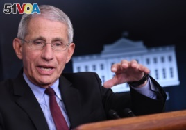 In this file photo, Director of the National Institute of Allergy and Infectious Diseases Anthony Fauci speaks during an unscheduled briefing after a Coronavirus Task Force meeting at the White House on April 5, 2020, in Washington.