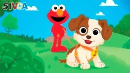 In this image provided by Sesame Workshop, Elmo and his new dog Tango are seen in an upcoming special show