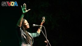 Singer Awa Ly performs on stage at the Saint Louis Jazz Festival in Saint Louis, Senegal, June 18, 2021. Picture taken June 18, 2021. REUTERS/Cooper Inveen.