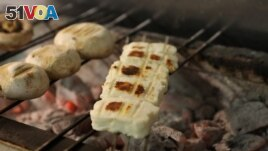 Grilled halloumi is seen in a restaurant in Nicosia, Cyprus, April 2, 2021. (REUTERS/Yiannis Kourtoglou)
