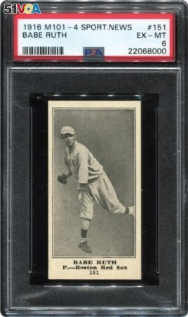 A 1916 Sporting News Babe Ruth rookie card from the collection of Dr. Thomas Newman is seen in an undated photo ahead of an online auction by Memory Lane Auctions. Courtesy of Memory Lane, Inc/Handout via REUTERS