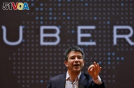 FILE - Travis Kalanick speaks to students during an interaction at the Indian Institute of Technology (IIT) campus in Mumbai, India, Jan. 19, 2016.