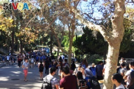 Students take the Bruin Walk at the University of California, Los Angeles.