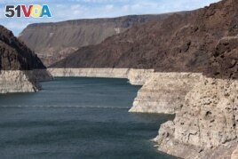 Low water levels due to drought are seen in the Hoover Dam