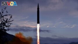 The newly developed hypersonic missile Hwasong-8 is test-fired in North Korea, in this undated photo released on September 29, 2021 by North Korea's Korean Central News Agency (KCNA). (KCNA via REUTERS)