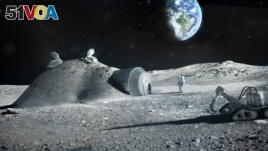 This illustration created by the European Space Agency (ESA) shows how a future moon base could be set up, with structures built with 3D printer technology. (ESA/Foster + Partners)