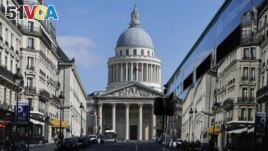 FILE - In this file photo dated Tuesday, March 31, 2020, a bus drives to the Pantheon in Paris. The remains of American-born singer and dancer Josephine Baker will be reinterred at the Pantheon monument in Paris.