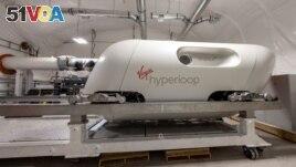 A prototype hyper loop pod is seen at the Virgin Hyperloop facility near Las Vegas, Nevada, on May 5, 2021. (REUTERS/Mike Blake)