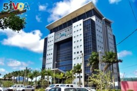 The building housing the headquarters of AFRINIC, the nonprofit organization responsible for allocating Africa's IP address space, is seen near Port Louis in Mauritius Monday, Sept. 27, 2021. (AP Photo/ L'express Maurice)