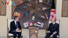 U.S. Secretary of State Antony Blinken, meets with Chairman of the High Council for National Reconciliation Abdullah Abdullah in Kabul, Afghanistan April 15, 2021. (High Council for National Reconciliation Press Office/Handout via REUTERS)