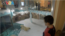 Visitors look at polar bears in an enclosure inside a hotel at a newly-opened polarland-themed park in Harbin, capital of northeast China's Heilongjiang province March 12, 2021.