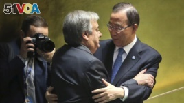 Current Secretary-General of the United Nations Ban Ki-moon, right, embraces the Secretary-General designate, Antonio Guterres of Portugal, after he spoke during his appointment at U.N. headquarters, Oct. 13, 2016.