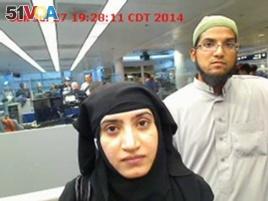 Tashfeen Malik, left, and Syed Farook shot and killed 14 people at a holiday party in San Bernardino.
