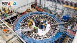 The test track scientists are using to observe muon particles outside of Chicago, Illinois at the Fermilab. (Reidar Hahn/Fermilab via AP)