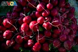 FILE - Radishes are displayed for sale at an outdoor market in Arlington, Va., May 24, 2014. (AP Photo/J. Scott Applewhite)