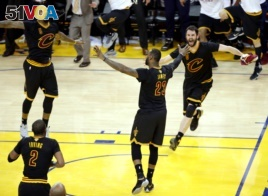 Cleveland Cavaliers celebrate after winning the NBA title.