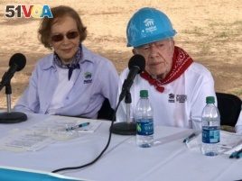 The newly forming neighborhood of 20 homes in Mishawaka, Indiana, is the current focus of Habitat for Humanity's Jimmy and Rosalynn Carter Work Project. The Carter's spoke to the media at the event.