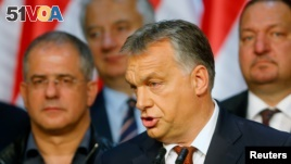 Hungarian Prime Minister Viktor Orban delivers a speech after the referendum on European Union's migrant quotas in Budapest, Hungary, Oct. 2, 2016.