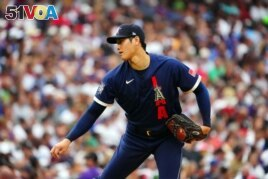 American League starting pitcher Shohei Ohtani of the Los Angeles Angels (17) pitches against the National League during the first inning of the 2021 MLB All Star Game at Coors Field. (Mandatory Credit: Mark J. Rebilas-USA TODAY Sports)