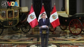 Peru's President Martin Vizcarra addresses the nation, as he announced he was dissolving Congress. Peruvian Presidency/Handout via REUTERS ATTENTION EDITORS - THIS IMAGE WAS PROVIDED BY A THIRD PARTY.