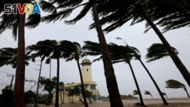 Palm trees blow in the wind near the Haulover Park Ocean Rescue Lifeguard Station at as Hurricane Irma passes by, Sunday, Sept. 10, 2017, in North Miami Beach, Fla. (AP Photo/Wilfredo Lee)