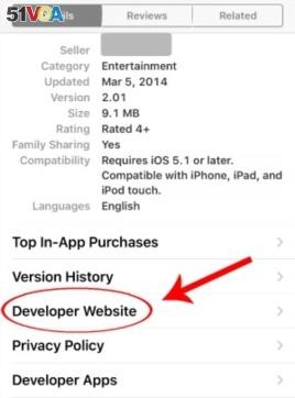 Developer Website in App Store