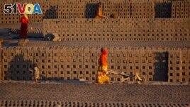 Women laborer transport bricks on hand carts at a brick kiln factory on the outskirts of Jammu, India, Nov. 26, 2013.