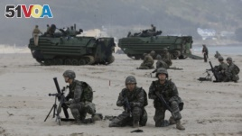 South Korean Marines and U.S. Marines from 3rd Marine Expeditionary Force participate in exercises in Okinawa, Japan.