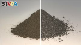 On the left side of this before and after image is a pile of simulated lunar soil, or regolith; on the right is the same pile after essentially all the oxygen has been extracted from it, leaving a mixture of metal alloys. Both the oxygen and metal could b