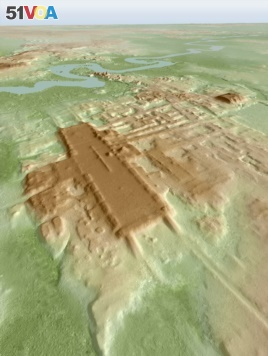 A three-dimensional image of the ancient Maya Aguada Fenix site in Mexico's Tabasco state based on lidar, an aerial remote-sensing method, is seen in this picture released on June 3, 2020. (Takeshi Inomata/Handout via REUTERS)