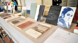 Books of American poet Louise Gluck during the announcement of 2020 Nobel Prize in literature at Borshuset in Stockholm, October 8, 2020. Gluck won the prize. (TT News Agency/Henrik Montgomery/via REUTERS)
