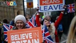 Pro-Brexit protesters demonstrate outside the Houses of Parliament, ahead of a vote on Prime Minister Theresa May's Brexit deal, in London, Britain, Jan. 15, 2019.