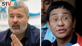 FILE - A combo of file images of Novaya Gazeta editor Dmitry Muratov, left, and Rappler CEO and Executive Editor Maria Ressa. On Oct. 8, 2021 the Nobel Peace Prize was awarded to Ressa and Muratov for their fight for freedom of expression.