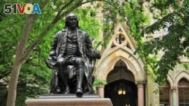 This is a statue of Benjamin Franklin. He is known for many proverbs that are still widely used today.