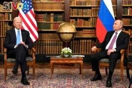 FILE - U.S. President Joe Biden and Russia's President Vladimir Putin meet for the U.S.-Russia summit at Villa La Grange in Geneva, Switzerland, June 16, 2021.