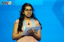 Chaitra Thummala, 12, from Frisco, Texas compete during the finals of the 2021 Scripps National Spelling Bee at Disney World Thursday, July 8, 2021.
