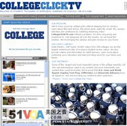 The home page of CollegeClickTV's website