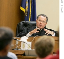 A judge at the Gage County Court in Beatrice, Nebraska, speaks to jurors during a murder trial last year.