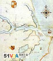 1584 map of Chesapeake Bay to Cape Lookout by John White