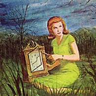 Nancy Drew as pictured on the cover of the first book in the series,