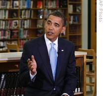 President Barack Obama talks to students at Wakefield High School in Arlington, Virginia