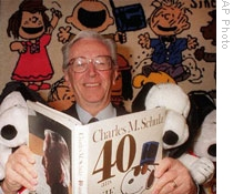Cartoonist Charles Schulz is shown in this 1990 photo
