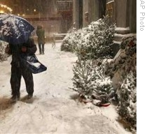 A major snowstorm hit the East Coast on the weekend before Christmas. A person walks past snow-covered Christmas trees for sale in the Upper West Side neighborhood of New York.