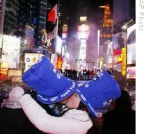 A couple welcoming 2009 in Times Square