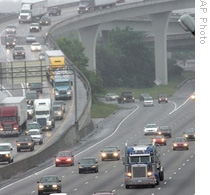 Traffic moves through the interstate highway system in Atlanta, Georgia