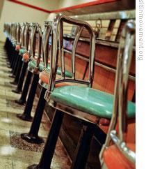 Lunch counter and stools that the four protesters in Greensboro sat on February 1, 1960